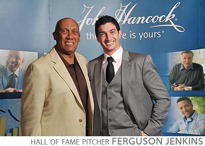 Ferguson Jenkins, Chicago Cubs Hall of Famer Pitcher, Hall of Fame Pitcher for Chicago Cubs, John Hancock, Charles Scwab Impact 2012, Hyatt Regency McCormick Place, sport celebrity step and repeat by FAB PHOTO, trade show step and repeat photo, print onsite