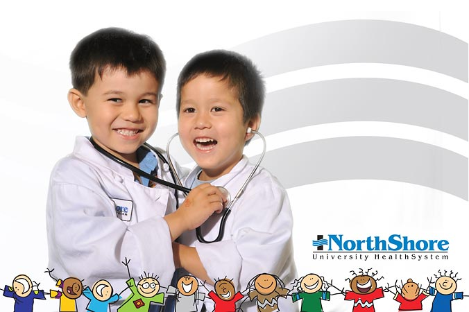 North Shore University Healthsystem green screen on-site printing by FAB PHOTO