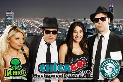 MARS USA, mechanical systems week 2012, blues brothers hot booth babes, green screen print onsite FAB PHOTO