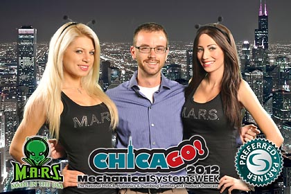MARS USA Mechanical Systems Week lucky guy 2 booth babes green screen logo branded onsite print