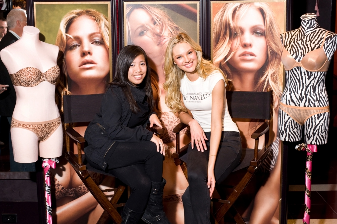 victoria secret model candice swanepoel promotes nakeds, michigan avenue chicago in store celebrity appearance step repeat photo op