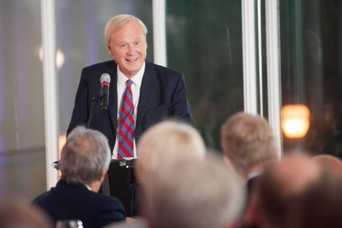 political commentator chris matthews interacts with audience at private corporate event, art institute chicago