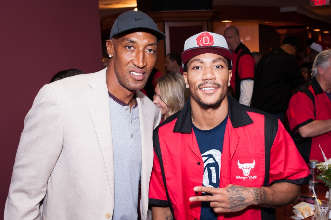 scottie pippen, derek rose, bowling with the bulls private event, 10Pin bowling lounge