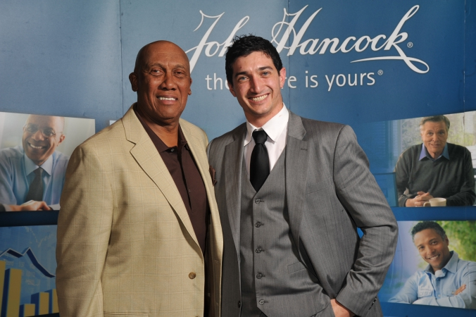 Ferguson Jenkins, Chicago Cubs Hall of Fame Pitcher for Chicago Cubs, makes celebrity sports appearance on step repeat for John Hancock, photos printed onsite,  Charles Scwab Impact 2012 tradeshow, Hyatt Regency, McCormick Place