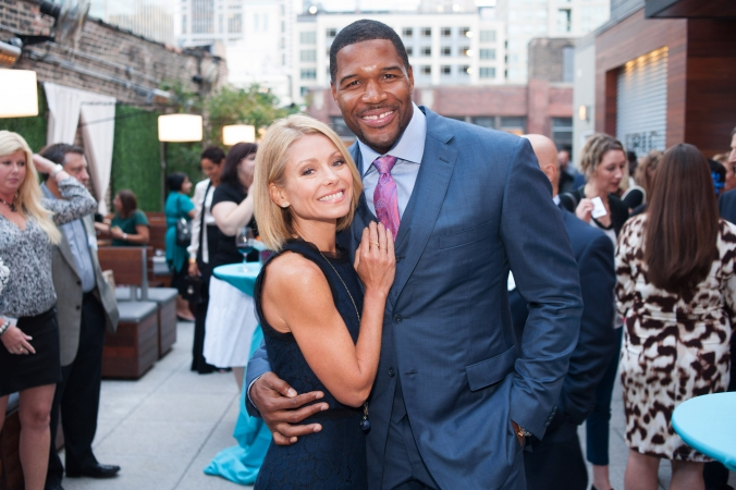 michael strahan, kelly ripa, make celebrity appearance at private chicago corporate event hosted by abc7 windy city live
