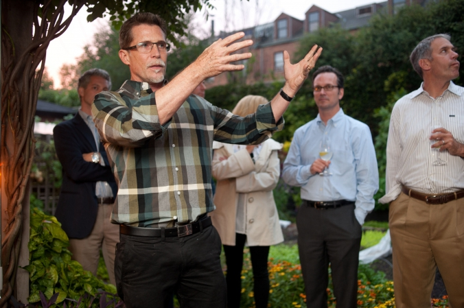 celebrity chef rick bayless hosts guests private backyard cookout fundraising party for wbez chicago public radio