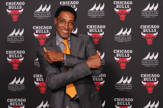 NBA legend Scottie Pippen poses on the step and repeat, private corporate event photography, united center, chicago