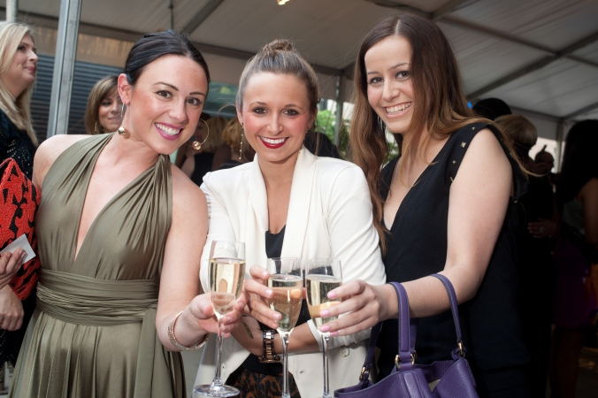 3 lovely laides pose for a candid group photo at a private corporate event, chicago.