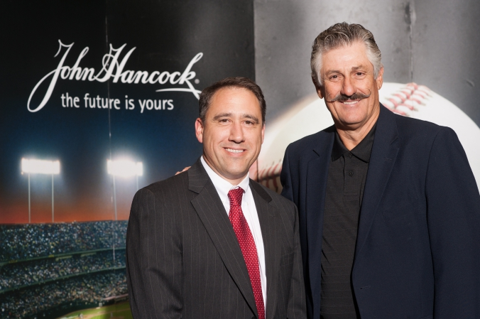 Hall of Fame pitcher Rollie Fingers poses at John Hancock photobooth activity at the morning star investment conference.