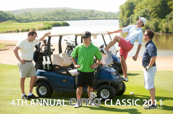 caddyshack goofballs pose in foursome shot, CIMA classic, annual golf event, photography by fab photo, harborside golf course