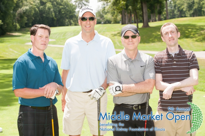 group poses for golf photo, printed on location, middle market open, national kidney foundation illinois annual fundraising golf event, Olympia Fields Country Club