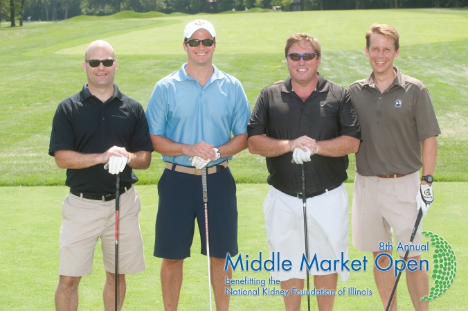 foursome poses for free logo branded golf photo printed onsite, middle market open, charity golf event for national kidney foundation illinois, Olympia Fields Country Club