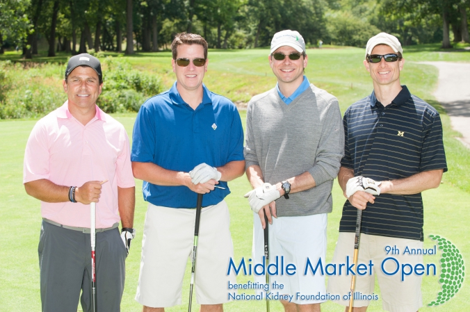 classic golf foursome group shot, middle market open, charity golf event for national kidney foundation illinois, Olympia Fields Country Club