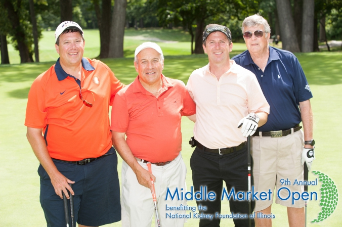 friends get a souvenir group photo from the middle market open, national kidney foundation illinois annual golf outing, Olympia Fields Country Club
