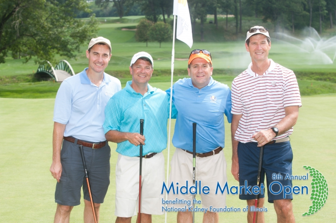 foursome poses for golf photo souvenir, printed onsite, middle market open, charity golf event for national kidney foundation illinois, Olympia Fields Country Club