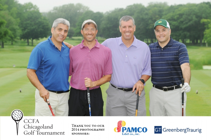 professional golf foursome photo, logo branded and printed instantly on site, ccfa annual golf event, skokie country club