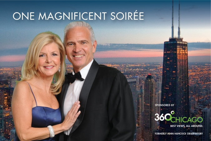black tie couple takes fabulous posed green screen portrait, magnificient mile association annual gala, one magnificient soiree
