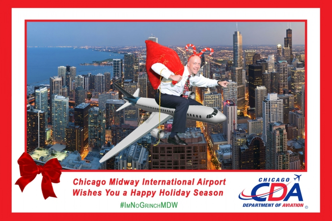 man rides 747 over chicago skyline wearing candy cane hat, green screen photography by fab photo, chicago, holiday social media campaign with onsite printing, midway airport, sponsored by CDA