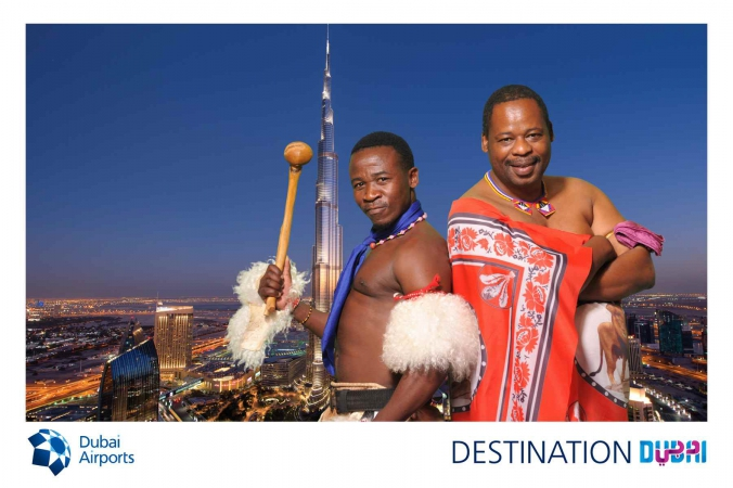green screen photo puts swasiland warriors into dubai skyline, world routes conference, mccormick place, chicago