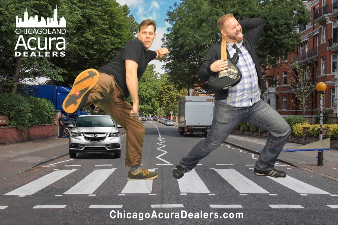 karate kick behind back guitar solo at acura abbey road themed green screen photo booth, lit fest chicago