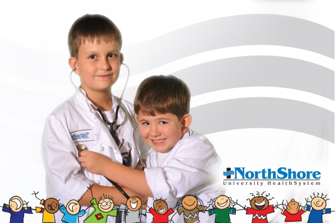Northshore Health trade show at Kohl's Children's Hosptial, logo branded green screen photo handed out instantly on site