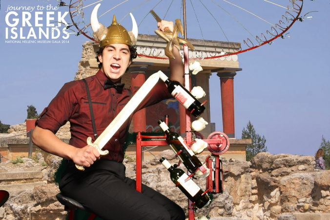 infamous red moon wine bicycle appears on the green screen photo booth, greek islands, hellenic museum fundraiser, radison blu