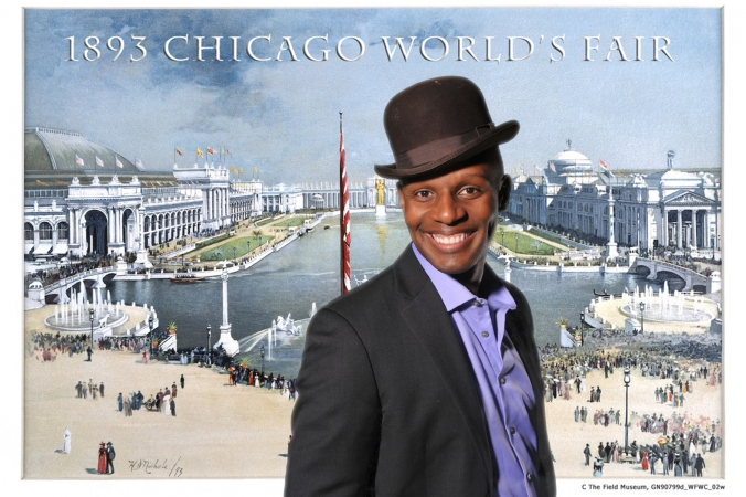 dapper young gentleman appears at 1893 worlds fair, green screen photography with photos printed onsite turned into postcards