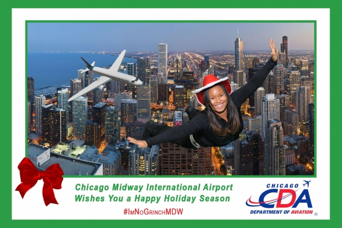 Chicago Department of Aviation sponsored Holiday green screen photo activity with onsite printing and instant social media