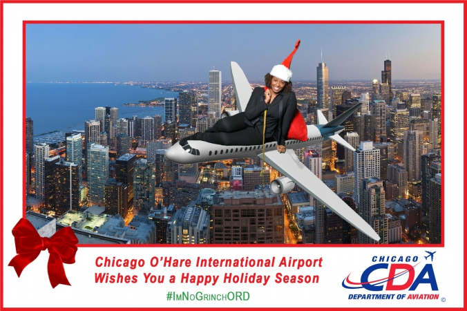 chicago department aviation wishes holiday cheer by taking pictures of airport guests during their holiday social media campaign at ohare international airport