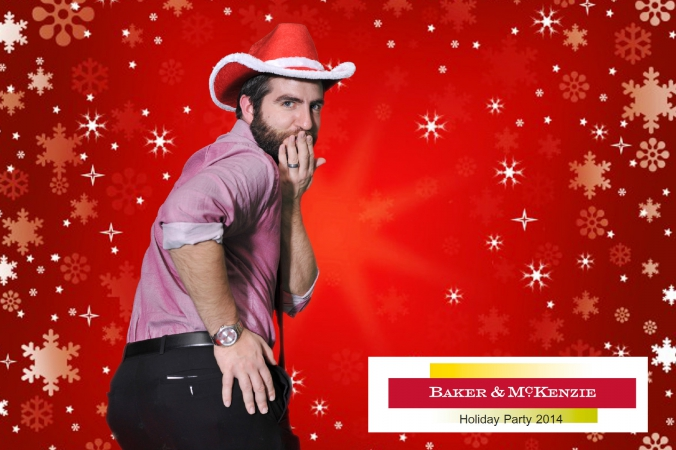 sweet cheeks naughty cowboy, baker mckenzie holiday party, green screen photobooth