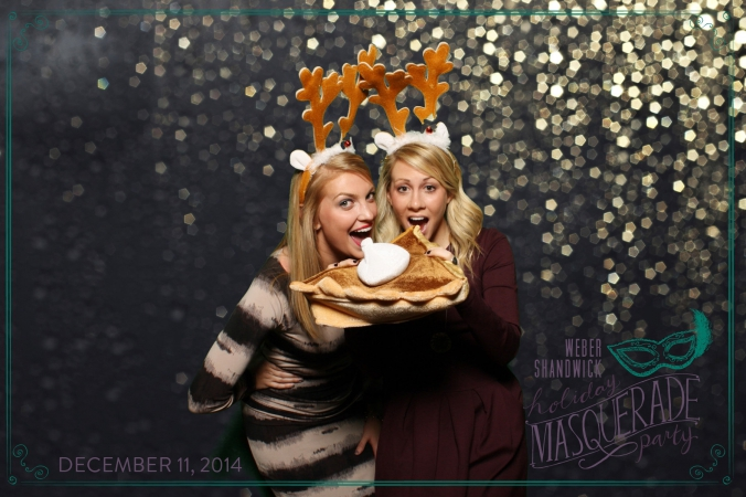 hot girls eat pie wearing reindeer antlers, weber shandwick, green screen holiday party photobooth, nellcote, chicago
