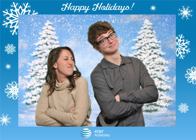 happy holidays green screen photography at at&t event, 5x7 photo printed onsite