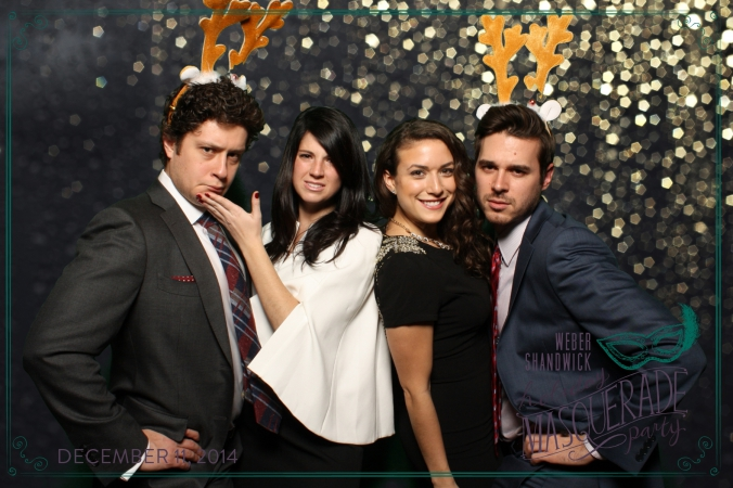 reindeer antler props make perfect photobooth picture, weber shandwick annual company holiday party, chicago