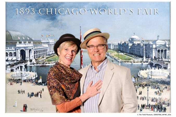 dapper couple pose for 1893 chicago world fair theme post card printed onsite, green screen photobooth at Chicago Field Museum
