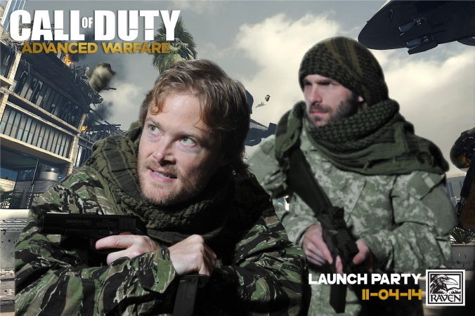 raven software game designers pose in green screen photo activity at launch party for call of duty advanced warfare, onsite printing and social media by fab photo