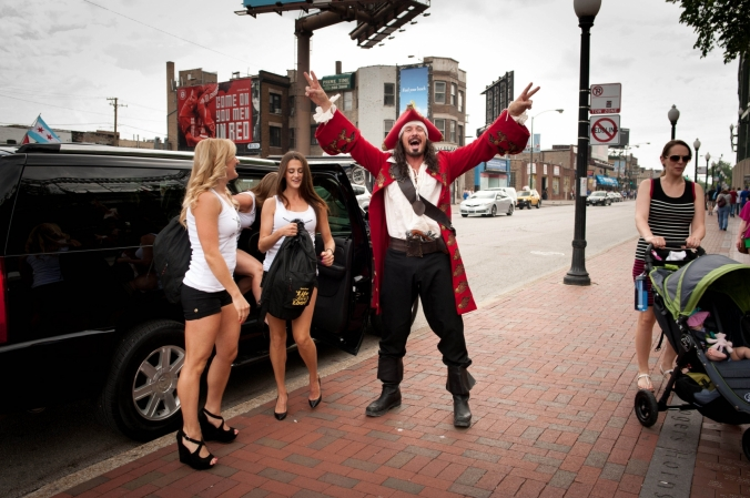 Captain Morgan arrives at the Captain Morgan Club, Wrigleyville, Chicago, to meet fans and pass out free shots