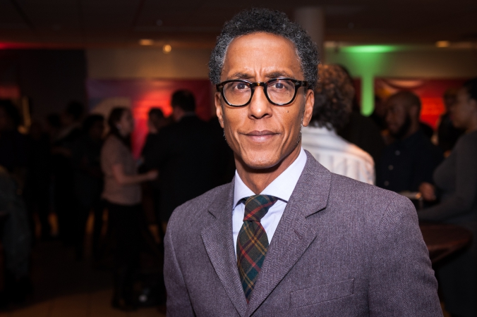 Andre Royo, Reginald Bubbles Cousins HBO The Wire, attends Mavis Staples documentary premiere at DuSable Museum, Chicago