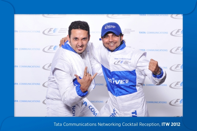 Tata communications had race car suits for props at their step and repeat photo activity, ITW 2012