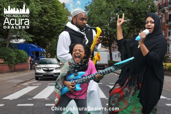 muslim family rocks out, chicagoland acura dealers green screen photo promo at lit fest chicago