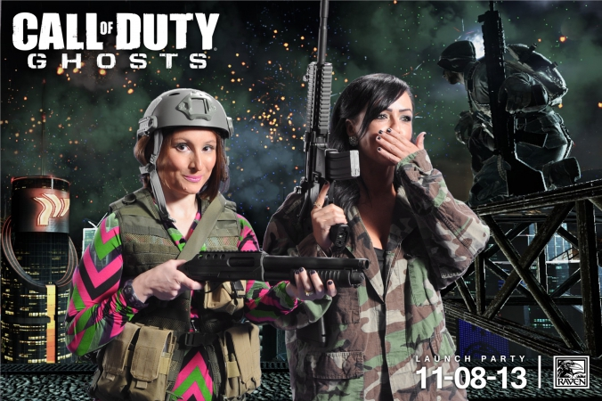 raven software engineers pose in our green screen photobooth, launch party call of duty GHOSTS