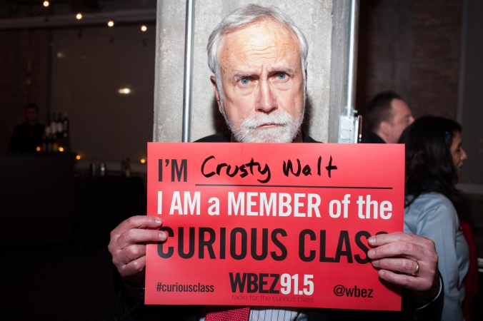 Crusty Walt, member of the curious class, in support of wbez, chicago public media, curious city, event photography by fab photo