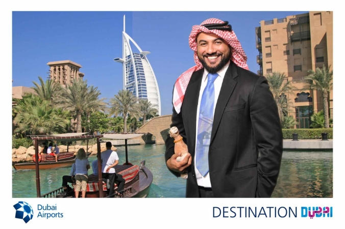 Free green screen picture printed onsite and turned into a postcard, photo activation for Dubai Airports at McCormick Place, Chicago