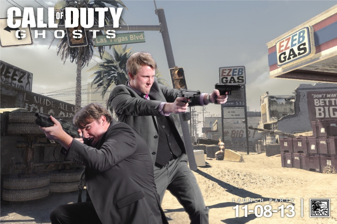 maverick shooters pose in green screen game launch photo activity for Call of Duty GHOSTS
