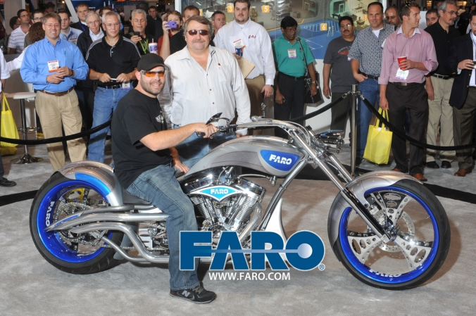 Orange County Choppers Paul Jr poses with his FARO motorcycle and fans, Quality Expo Chicago McCormick Place September 20 to 22, onsite photo printing by FAB PHOTO