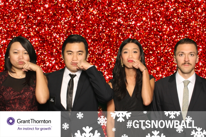 Grant Thornton logo branded photo, holiday party green screen photobooth with onsite printing and social media.