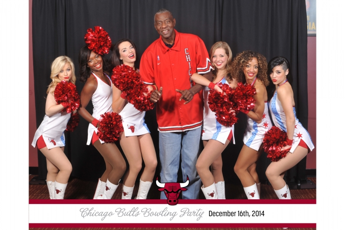 Chicago Bulls Bob Love and the Luvables pose for an 8x10 step repeat photo printed onsite.