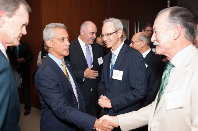 mayor rahm emanuel shakes hands at grant thornton private corporate event, photography by fab photo chicago