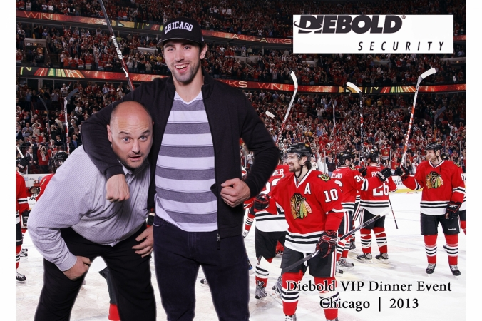 nick leddy, chicago blackhawks, hockey star poses with fan, green screen, onsite 5x7 photo print onsite, fab photo chicago