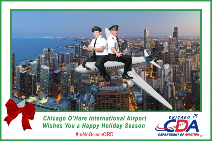 Pilots have fun at the holiday social media photo campaign provided by fab photo chicago.
