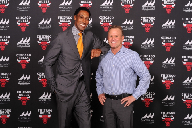 Scottie Pippen poses with Chicago Bulls sponsor for step repeat photo, Bulls Sponsor Summit 2014, 8x10 photo printed on location by fab photo